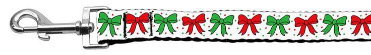 Christmas Bows Nylon Ribbon Leash