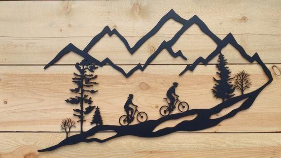 Metal Wall Art Mountain Bike Trees Mountain Bike Mtb 30 Black Mountain Bike Art Metal Wall Art Mountain Scene