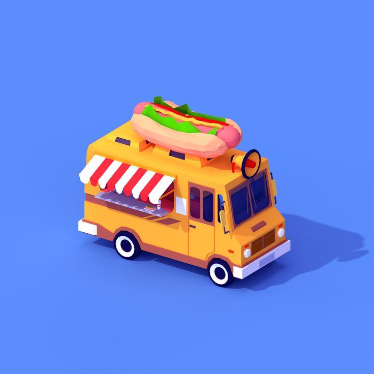 ArtStation - Low Poly Hot Dog Car, Vyacheslav Ledenev