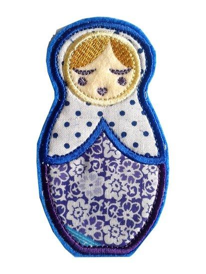 Anoushka Babushka strijkapplicatie in blauw - paars