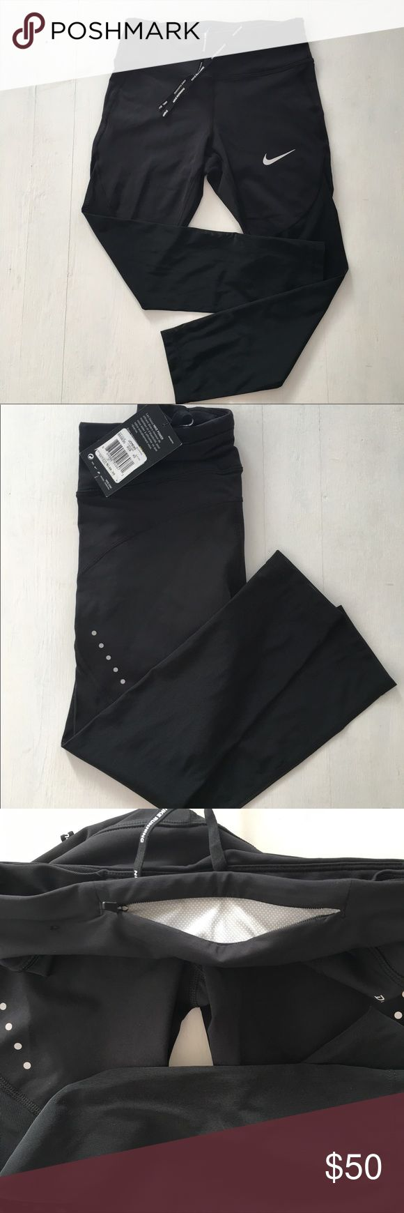 Nike Epic Run tights NWT Nike Epic Run cropped tights. Black with mesh and reflective detail. These are for a small person!!  XS. Nike Pants Leggings