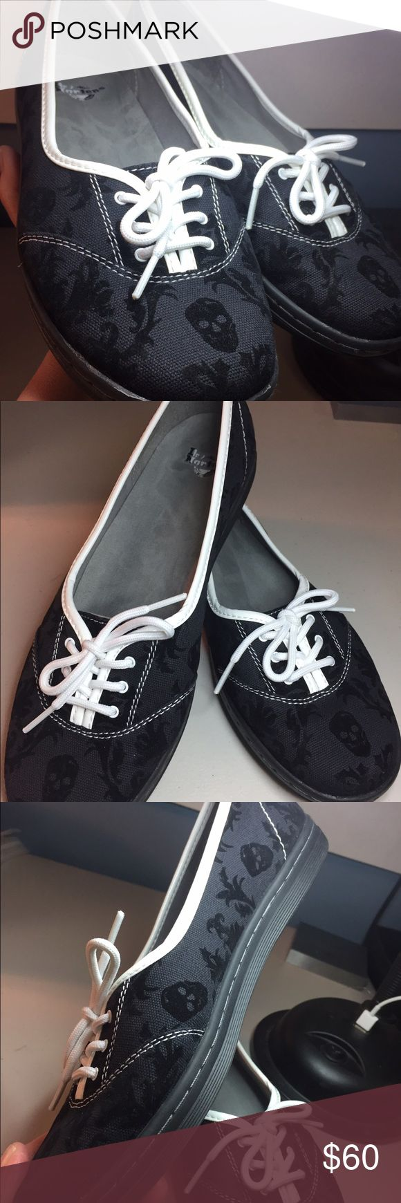 "Dr. Marten's ""Portobello"" skull canvas shoes. Black Canvas slip on shoes with skulls, white trim and laces. Ladies size 10.  Never worn outside.  Inside logo color has lifted due to insert I placed in them to try to fit me better.  Very cool shoes! Dr. Martens Shoes"