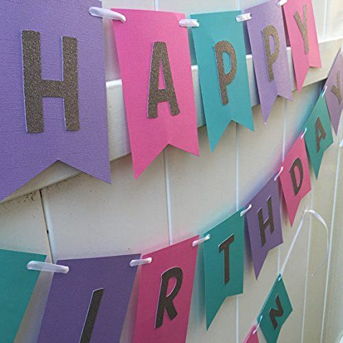 Hot Pink, Teal, Purple and Silver Glitter Happy Birthday Banner
