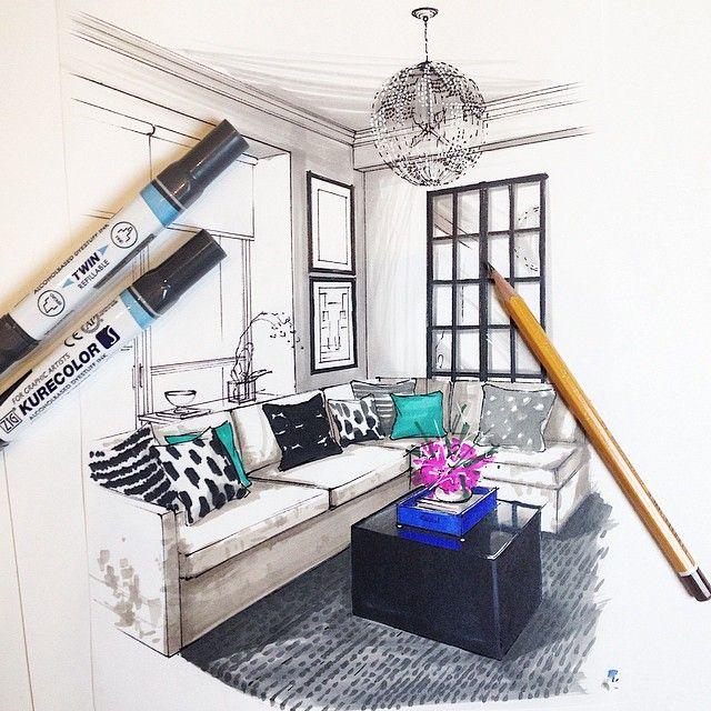 Интерьерный скетч Даниэля @danielp111. #art_markers #дизайн #интерьер #скетч #москва #эскиз #interiordesign #interior #markers #markerart #markerdrawing #sketch #zigmarkers #moscow #arteinteriorsketch