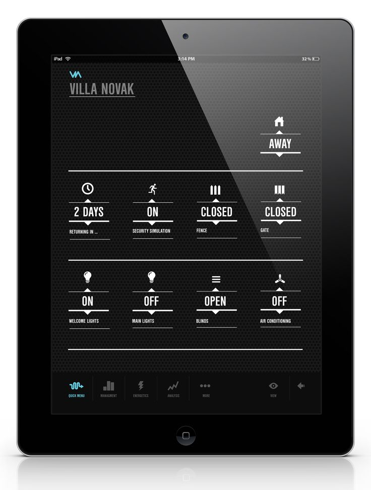 VIA - Building Management System  Quick Menu - access to your favourite and most used features.