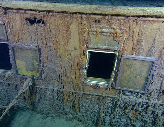 This photo taken at the Titanic's wreck site displays two windows from first-class cabins. The window on the left leads to Stateroom W, while the window on the right leads to Stateroom U. (RMS Titanic Inc./AP Photo)