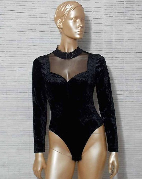 Vintage crushed velvet bodysuit victorian goth black by IuSshop