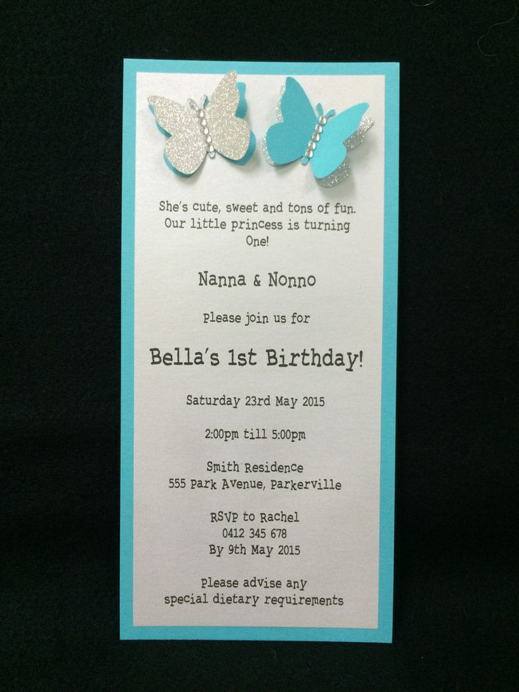 Invitation - Kids Birthday - Turquoise Butterfly - Bella