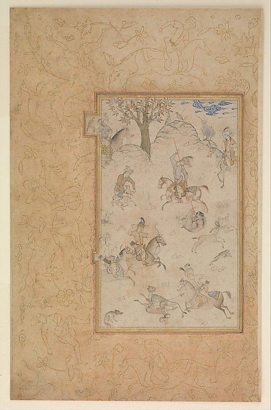 A Princely Hunt Date: late 16th century Geography: Iran, Qazvin Medium: Ink, gold, and watercolor on paper Dimensions: Painting: H. 6 15/16 in. (17.6 cm) W. 4 9/16 in. (11.6 cm) Page: H. 11 3/4 in. (29.8 cm) W. 7 9/16 in. (19.2 cm) Mat: H. 19 1/4 in. (48.9 cm) W. 14 1/4 in. (36.2 cm) Metropolitan Museum of Art 17.81.2