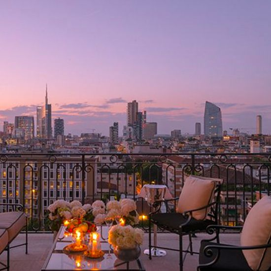 The view from Palazzo Parigi's rooftop in Milan.