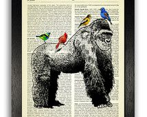 Gorilla with Exotic Birds Art Poster Print, Gorilla Bedroom Wall Decor, Nursery Animal Art, Dictionary Page Art…