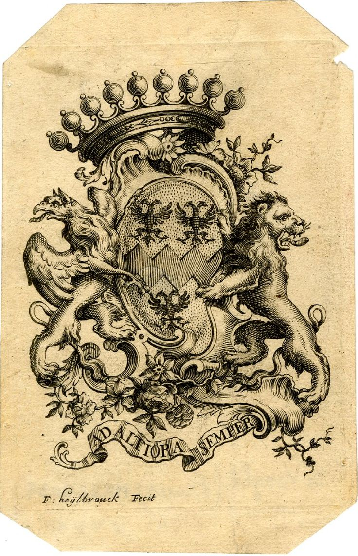 Coat of arms of De Vooght of Bruges, )rint made by F Heylbrouck, ca 1772 [devise : Ad altiora semper]