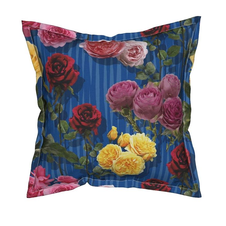 Serama Throw Pillow featuring Blue roses by angelfraser   Roostery Home Decor