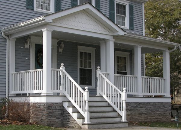 Porch With Stone Skirt Pinterest Front And House