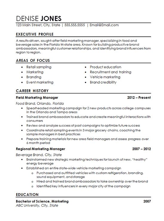Regional Marketing Resume Example  Marketing Resumes