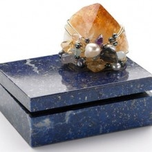 Lush Lapiz Box Adorned With Rare Minerals, Pearls And Semi Precious Stones.  Crafted