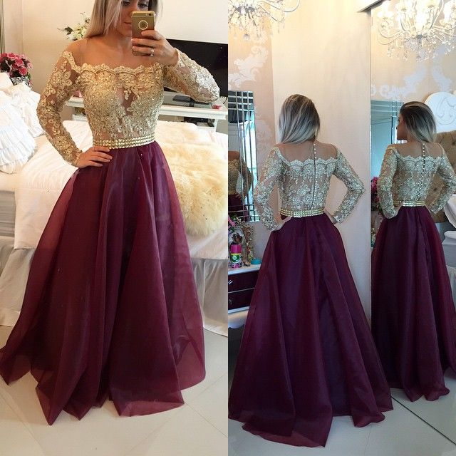 Illusion Long Sleeves Appliques Evening Gowns A-Line Prom Dresses with Buttons_Buy High Quality Dresses from Dress Factory - Babyonlinedress.com