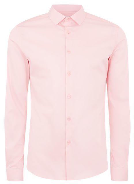 Topman Pink Satin Muscle Shirt