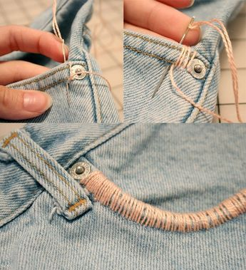 DIY Jeans I would use colored string though Orange or pink or greens to match camo tops #thriftstoreswag