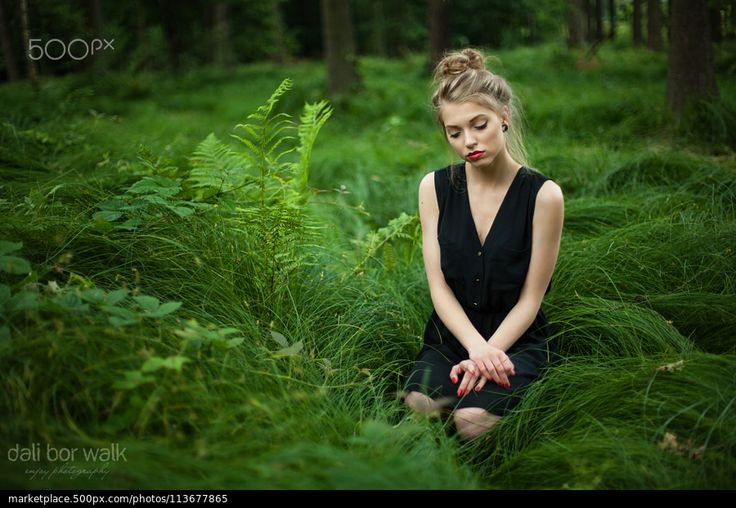 GIRL IN THE WOOD - stock photo