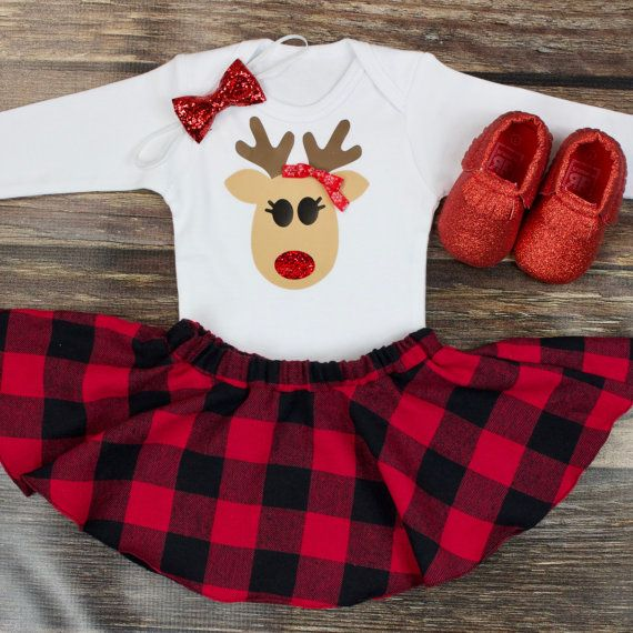Girls Christmas Outfit Reindeer Christmas With by OliveLovesApple