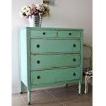 Painted furniture. Beautiful aqua / turquoise dresser by White on the Wall. Florida, USA.