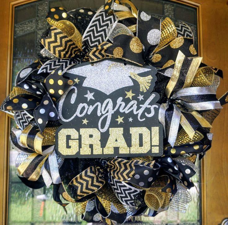 Graduation Wreath, Graduation Decorations, Graduation Mesh Wreath, Graduation Party Decor, High School Wreath, College Wreath