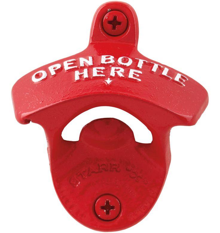 """Starr X Red Wall-Mount """"Open Bottle Here"""" Bottle Opener"""