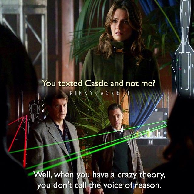 "#Castle 7x18 - ""At Close Range"" - Kate, Richard, and Ryan. ""Well, when you have a crazy theory, you don't call the voice of reason."""