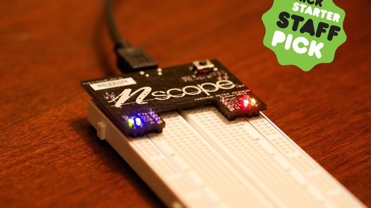 nScope is a USB-powered oscilloscope, function generator, and power supply that turns any laptop into an electronics workbench.