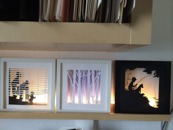 Amazing shadow boxes done with silhouette cameo. Tutorial on her blog                                                                                                                                                                                 Más