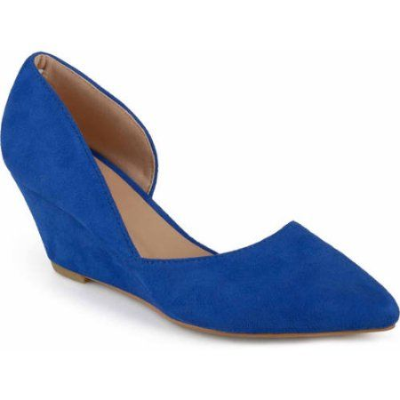 Brinley Co. Womens Pointed Toe Faux Suede Classic D'orsay Wedges, Women's, Size: 6.5, Blue