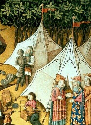 Trojanischer Krieg  Zeltlager der Griechen vor Troia  Kunstwerk: Buchmalerei ; Illustrationszyklus Dichtung ; Miniatur ; Martinus Opifex ; Wien  Dokumentation: 1445 ; 1450