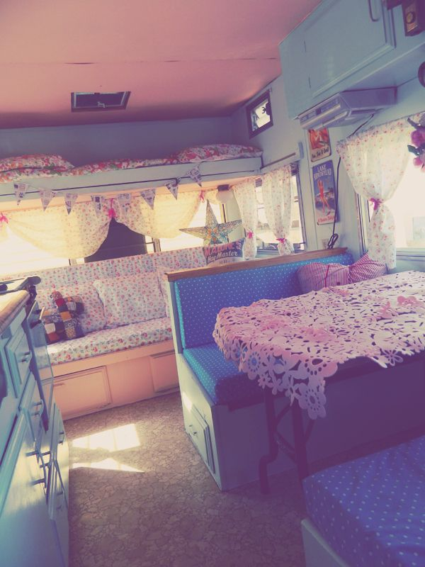 This is our exact camp trailer! Not a fan of the colors but I love the functionality of where they put things.