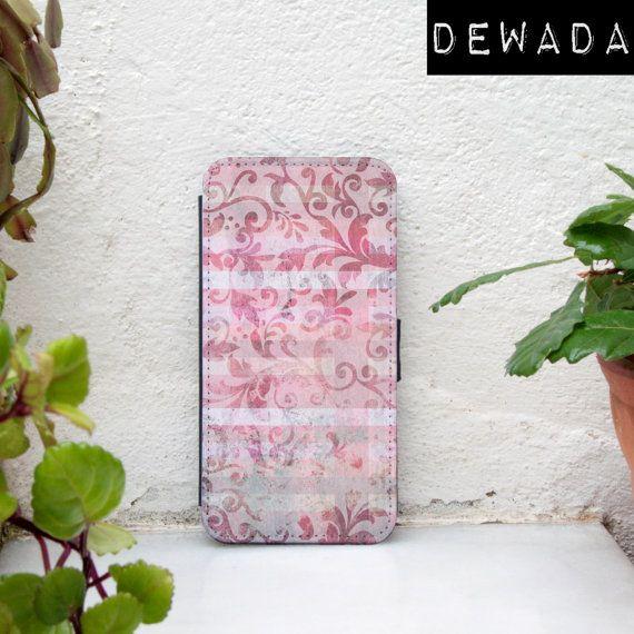 girly iPhone 5C wallet case pink floral vintage for by DeWadaSTORE