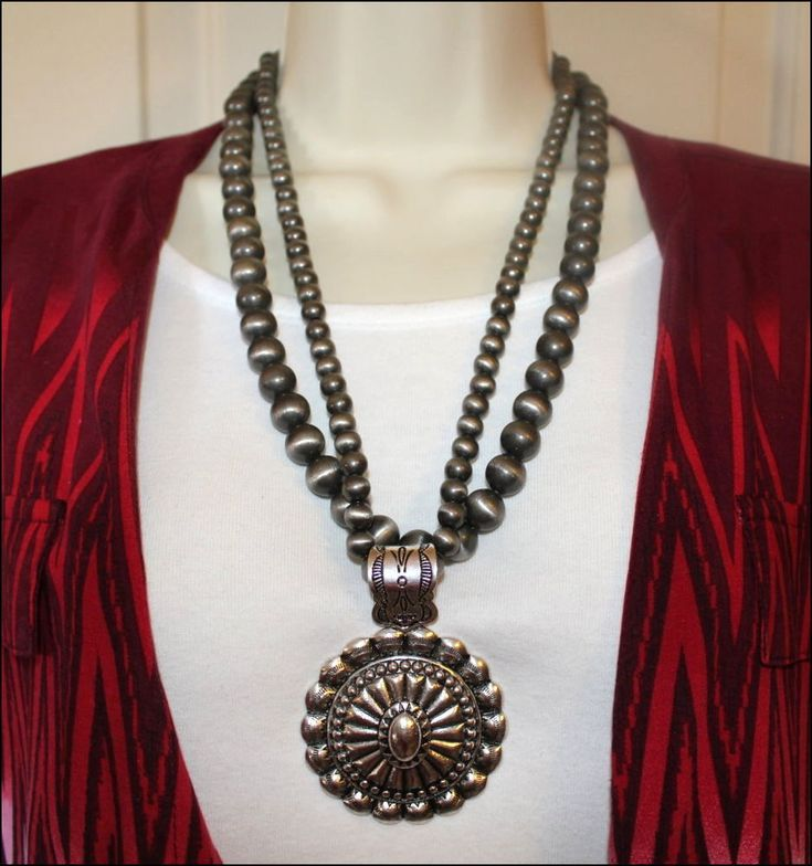 Western Navajo Pearl Pewter Bead Two Strand Round Pendant Gypsy Necklace Set  #Unbranded #StrandString