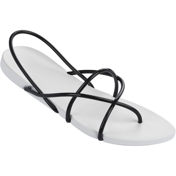 Ipanema Flip-flops - Ipanema Philippe Starck Thing G Fem White/black ($43) ❤ liked on Polyvore featuring shoes, sandals, flip flops, white, black and white sandals, black white sandals, ipanema, white black shoes and ipanema flip flops