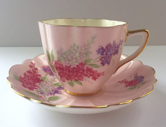 Pink Old Royal China Tea Cup & Saucer Teacup Duo