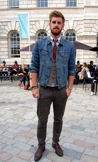 Men's Blue Denim Jacket, Brown Waistcoat, Light Blue Long Sleeve Shirt, Charcoal…