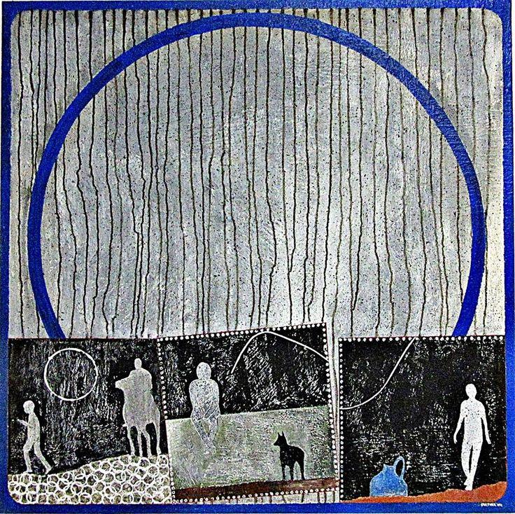 Blue Santo © Gartner - Symbolism - Mixed Media on Canvas 100 cm x 100 cm