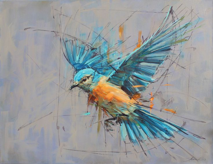 Eastern Bluebird. oils 93cm by 73cm. jamel akib www.jamelakib.com