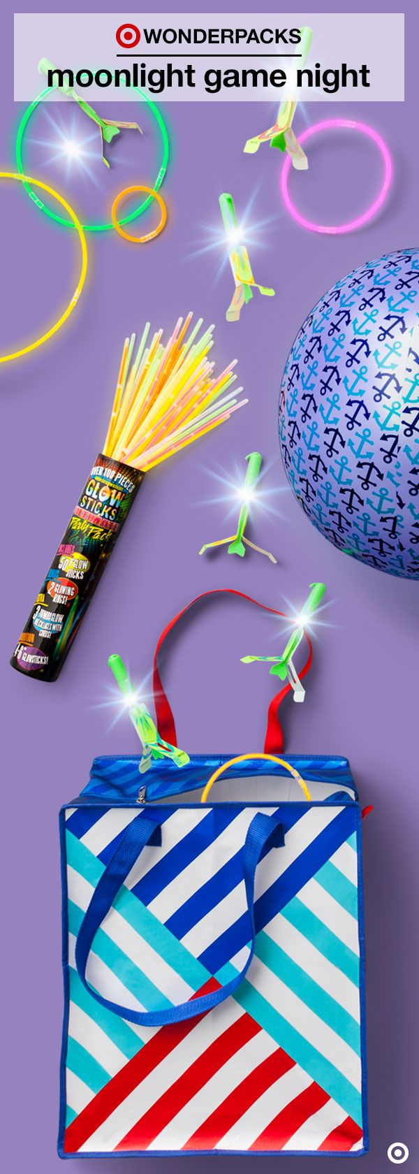 Ready, set, glow! Put your own twilight twist on a bunch of classic summer games with the Moonlight Game Night Wonderpack. Inside youÍll find everything you need for a bright night of fun, including an activity book full of instructions, inspiration and ideas.  Click to find out more about Moonlight Game Night and discover new Wonderpacks for endless summer fun. Get them before they're gone!