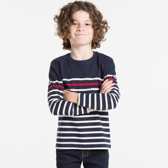 BOYS Striped Crew Neck Long Sleeve T-Shirt  | UNIQLO