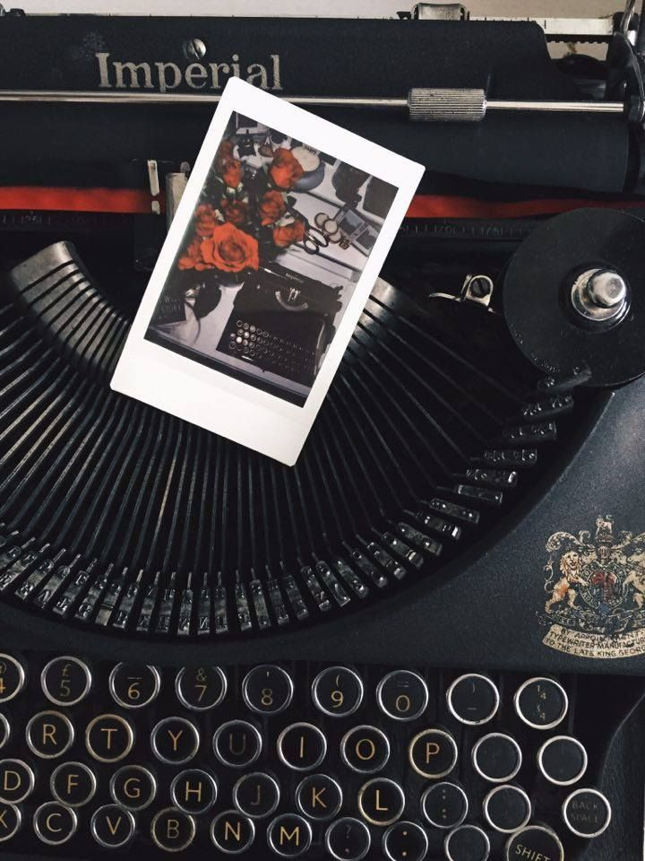 imperial typewriter red roses valentines polaroid instax mini room decor bedroom ideas