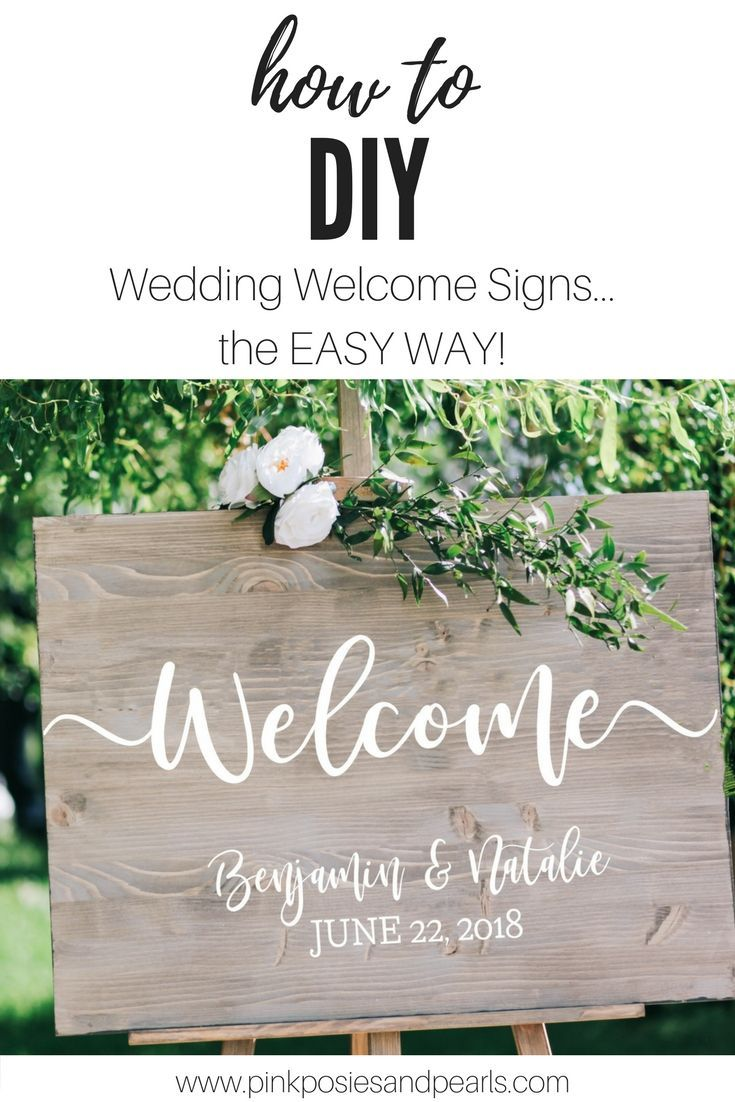 Wedding Wood Welcome Sign- Forget pricy wedding signage! These gorgeous decals will turn up the elegance notch on your big event for a fraction of the cost of handpainted signs. Pick out a piece of wood, sand and stain, and then apply one of our custom de