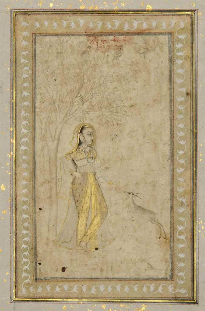 AN ALBUM PAGE. Opaque pigments heightened with gold on paper, PROVINCIAL MUGHAL INDIA, POSSIBLY MURSHIDABAD, ca. MID-18TH CENTURY, a richly dressed lady stands beneath a tree feeding a deer