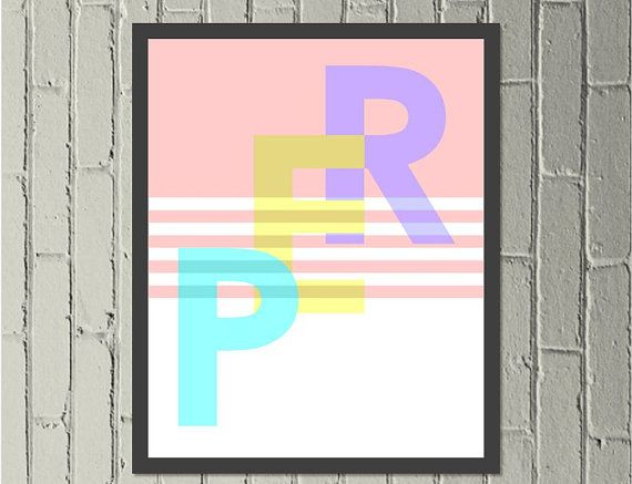 PER for Perth. Digital download print in turquoise, yellow and purple with a pastel pink background - Made by Gia for $4.50