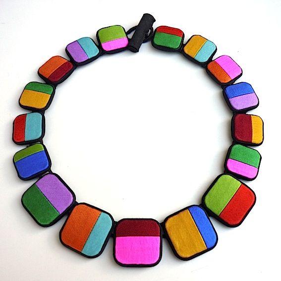 """Cecile Bertrand """"soie pastilles"""" Textile jewelry"""