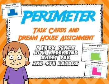 This set of 8 task cards focuses on the concept of perimeter. Students are asked to find the perimeter of shapes, and to also draw shapes on grid paper with a specific perimeter. Also included is a one page activity asking students to draw a dream house using specific measurements for each of the rooms.Perfect for math centers, small group math, or just a general review and practice of perimeter.