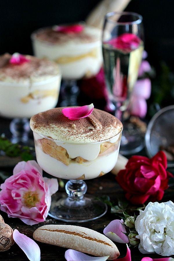 Prosecco Tiramisu - Gluten Free, No Bake - creamy and festive Tiramisu made with bubbly VOVETI prosecco for a gorgeous and easy, show stopper dessert. Peas and Peonies